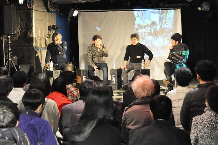 「映画界の方々からのお話」登壇者。(左から)磯見俊裕、山本政志、杉本信昭、フルカワタカシ。