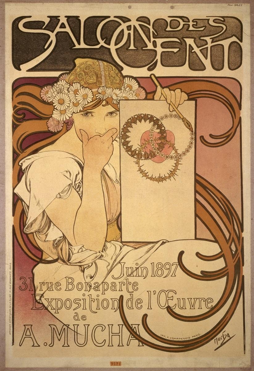 「サロン・デ・サンでのミュシャ展」1897年 OZAWAコレクション