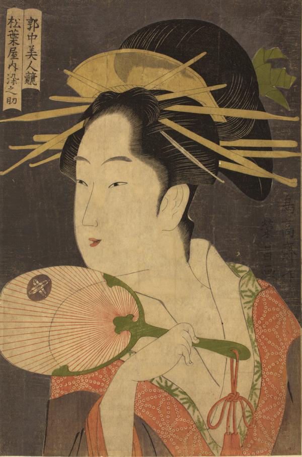 鳥高斎栄昌「郭中美人競 松葉屋内染之助」 寛政(1789-1801)中期