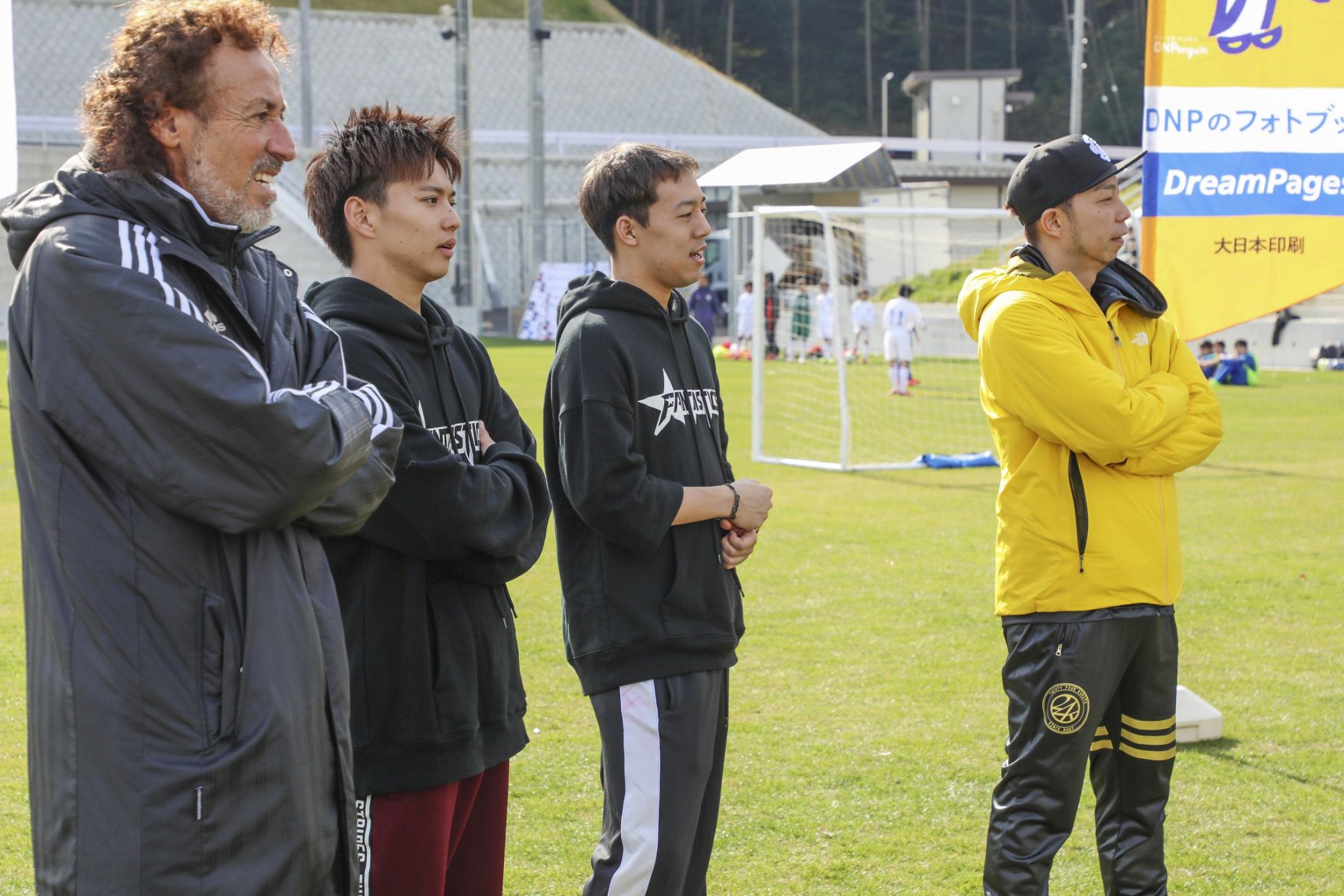 左から、ラモス瑠偉氏、佐藤大樹、世界、EXILE USA『EXILE CUP2017』