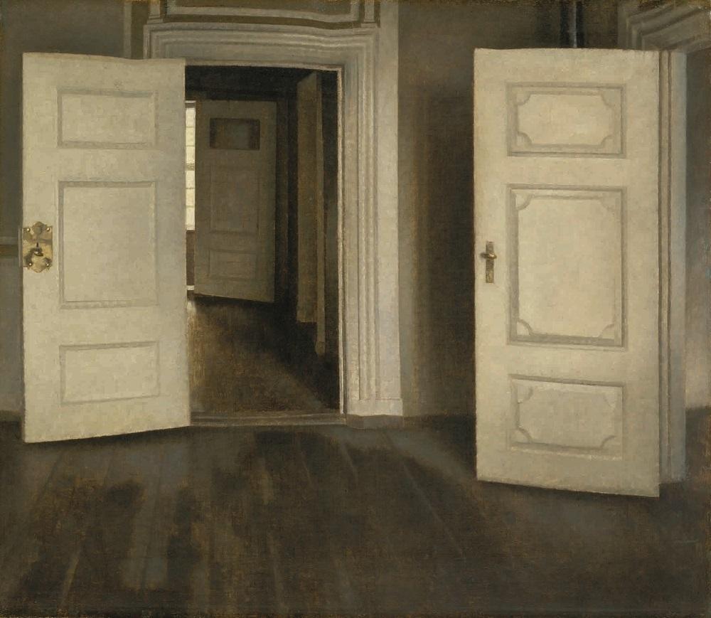 ヴィルヘルム・ハマスホイ 《室内―開いた扉、ストランゲーゼ30番地》 1905年 デーヴィズ・コレクション蔵 The David Collection, Copenhagen