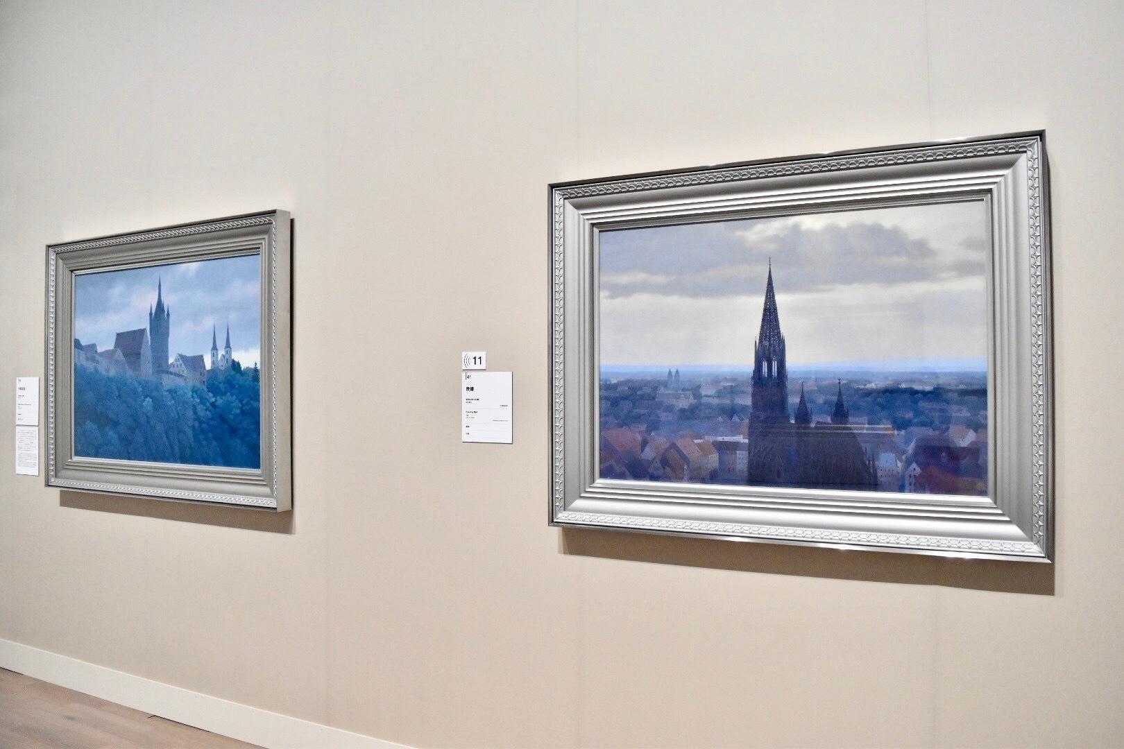 右:《晩鐘》 昭和46年 北澤美術館蔵 左:古都遠望 昭和46年