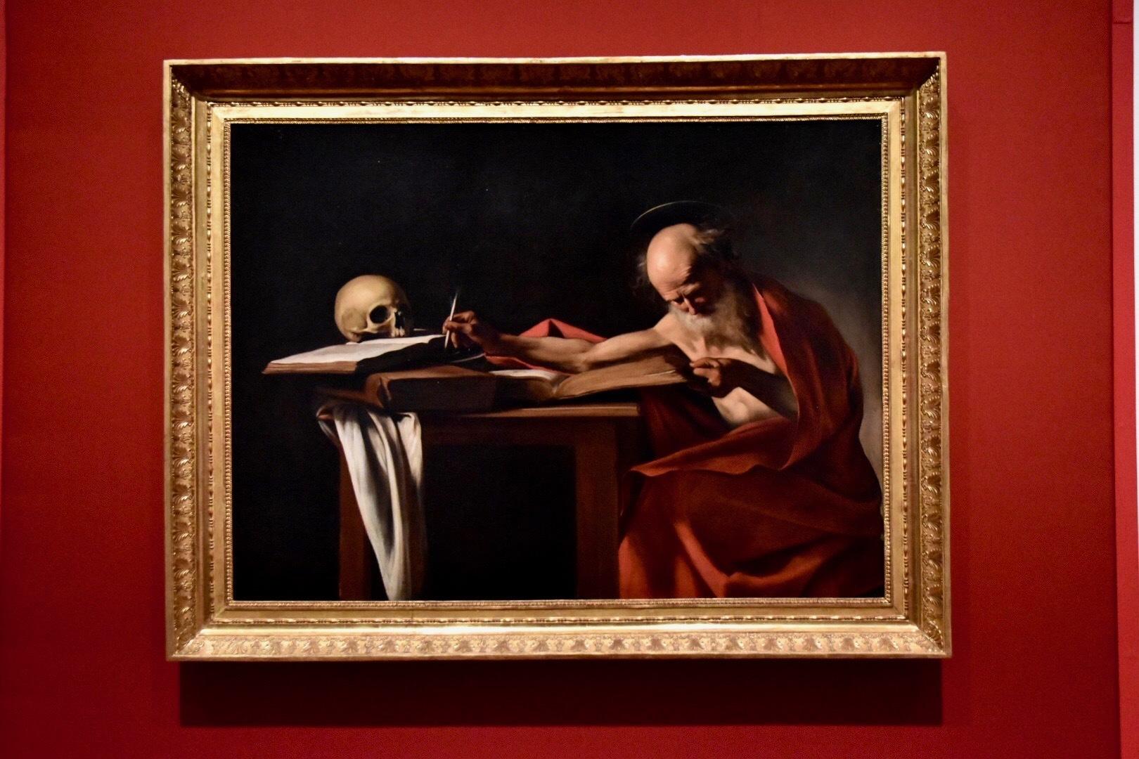 ミケランジェロ・メリージ・ダ・カラヴァッジョ《執筆する聖ヒエロニムス》1605-06年(ボルゲーゼ美術館蔵)