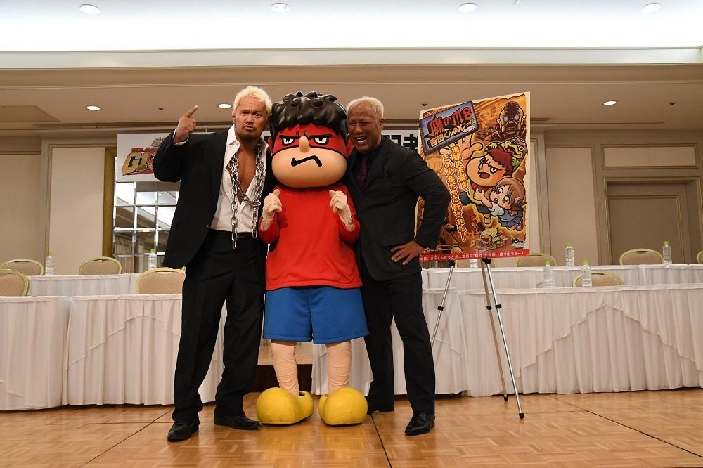 左から、真壁刀義、吉田くん、本間朋晃 写真提供/新日本プロレスリング