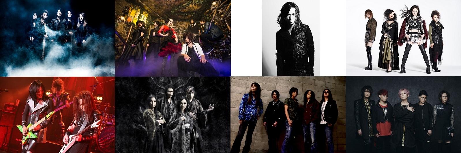 写真上段左から:GALNERYUS、Unlucky Morpheus、大村孝佳Mary's Blood/下段左から:SEX MACHINEGUNS、陰陽座、BLINDMAN、摩天楼オペラ