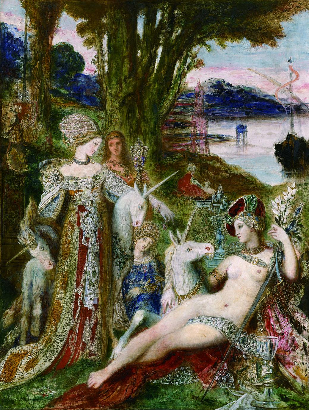 《一角獣》 1885年頃 油彩/カンヴァス 115×90cm ギュスターヴ・モロー美術館蔵 Photo(C)RMN-Grand Palais / René-Gabriel Ojéda / distributed by AMF