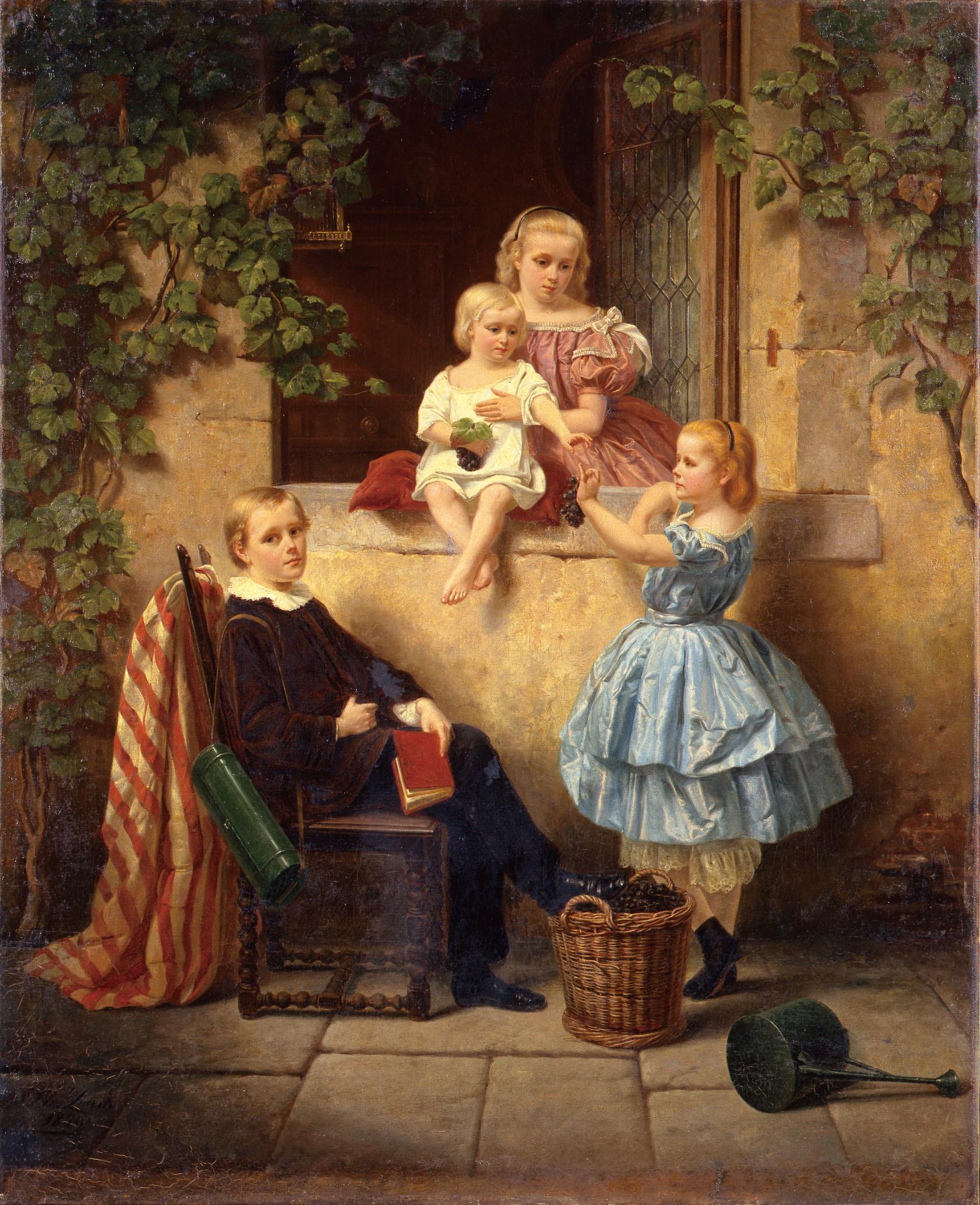 フィリップ・リンド「窓辺の子供達」1859年