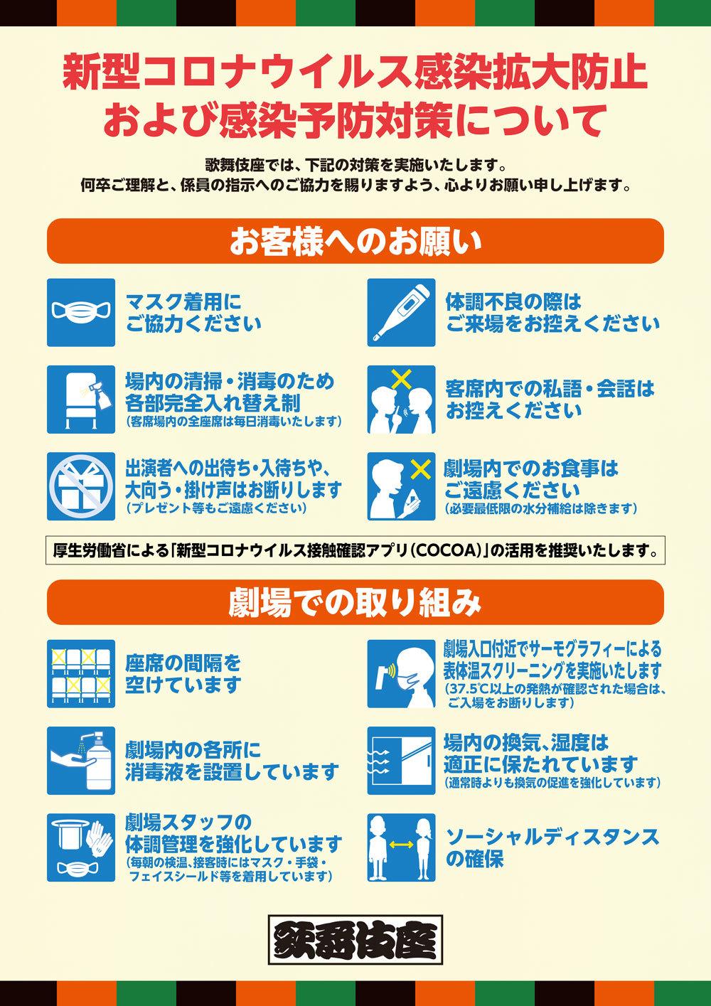 歌舞伎座公演再開ならびに新型コロナウイルス感染拡大防止および感染予防対策について