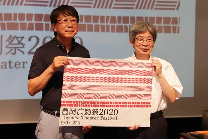 「豊岡演劇祭2020」会見より(左から)中貝宗治豊岡市長、平田オリザフェスティバルディレクター