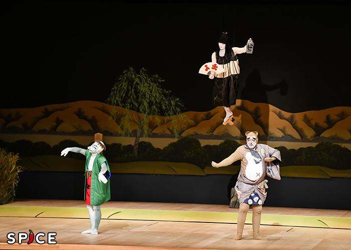 『闇梅百物語』左から、河童=中村種之助、傘一本足=中村歌昇、狸=坂東彌十郎 提供 松竹(株)