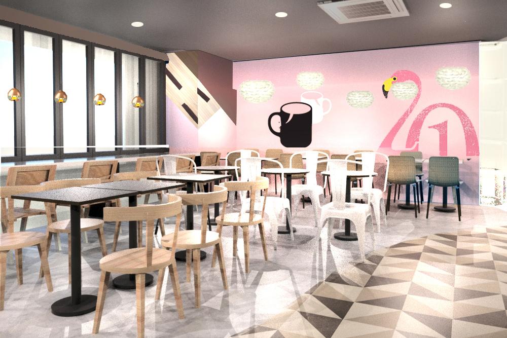 ピンク色がかわいい広々32席のカフェ