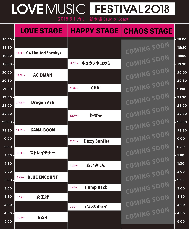 『LOVE MUSIC FESTIVAL 2018』タイムテーブル