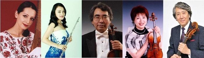 左からナターシャ・グジー(歌・バンドゥーラ)、 高木綾子(フルート)、 藤原浜雄(ヴァイオリン)、 水野佐知香(ヴァイオリン)、 堀了介(チェロ)