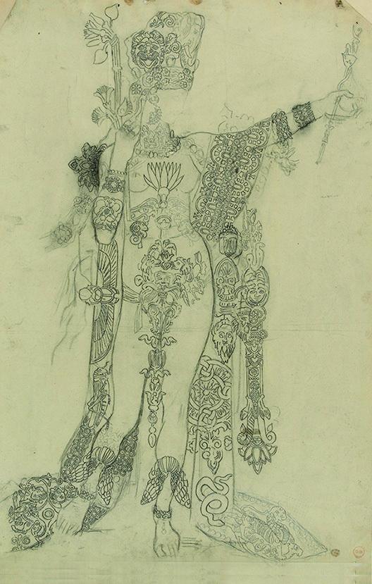 《踊るサロメ、通称入れ墨のサロメのための習作》 インク・鉛筆/紙 54.5×37.4cm ギュスターヴ・モロー美術館蔵 Photo(C)RMN-Grand Palais / René-Gabriel Ojéda / distributed by AMF