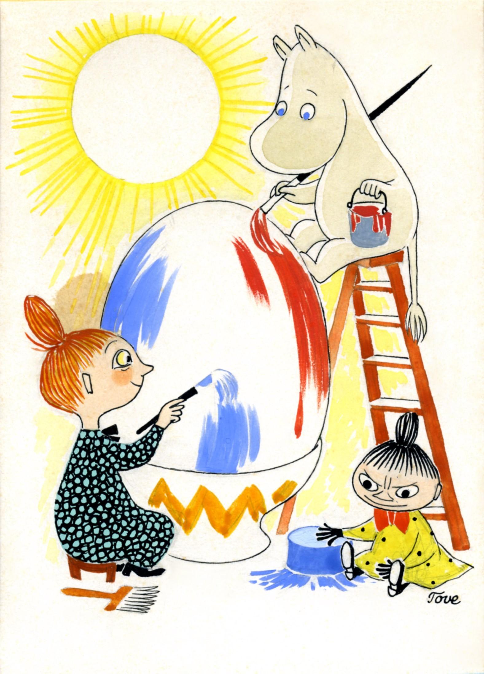 トーベ・ヤンソン≪イースターカード原画≫ 1940年頃 グワッシュ・インク・紙 ムーミンキャラクターズ社 (C)Moomin Characters TM