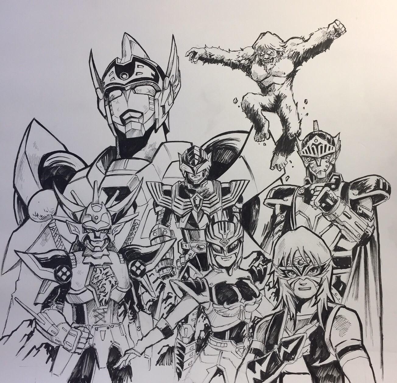 (※左上から時計回りに)グリッドマンシグマ 、『超星神グランセイザー』インパクターロギア、ビッグフット、『魔神騎士ジャック☆ガイスト』、プロレスラー・ブリザードYuki、『仮面天使ロゼッタ』、『鎧伝サムライトルーパー』輝煌帝烈火  イラスト提供=岡本英郎