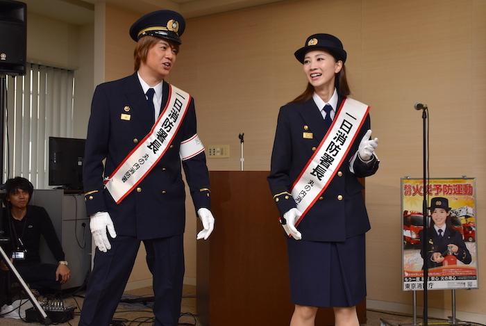 丸の内1日消防署長になった浦井健治と夢咲ねねが『ビッグ・フィッシュ』風に実演