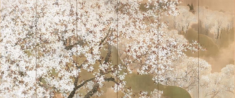 「小雨ふる吉野」(左隻) 菊池芳文 大正3年(1914) 東京国立近代美術館蔵 京都展のみ・半期展示