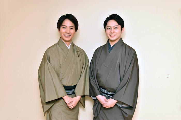 中村鶴松と中村梅丸(左から)