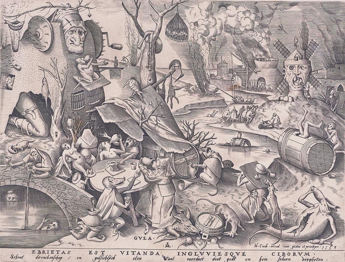 ピーテル・ブリューゲル(父)[原画] 《大食》 1558年 エングレーヴィング、紙 神奈川県立近代美術館 葉山