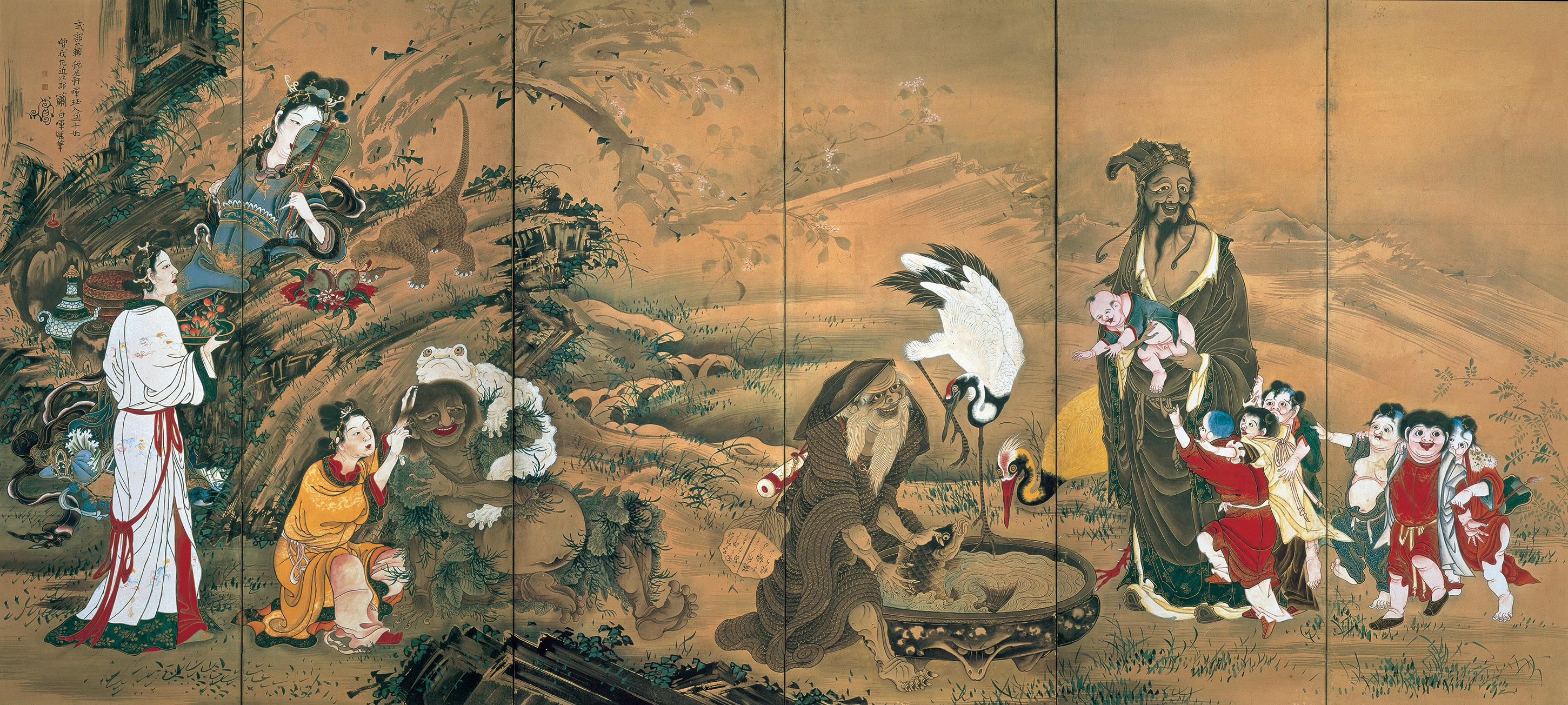 曽我蕭白 《群仙図屏風》 紙本着色 六曲一双 各172.0×378.0 明和元年(1764) 文化庁 重要文化財(部分)