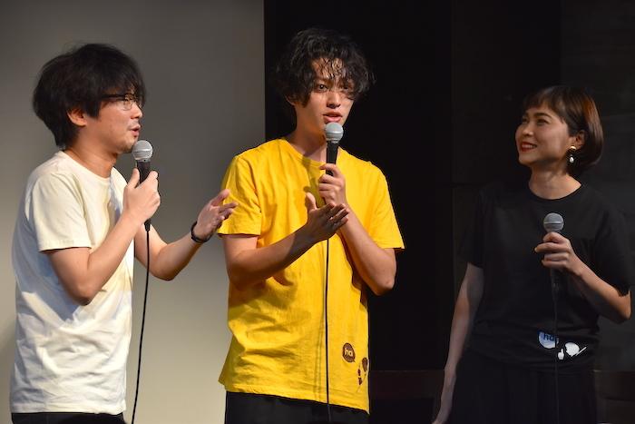 山崎樹範、安西慎太郎、上地春奈(左から)