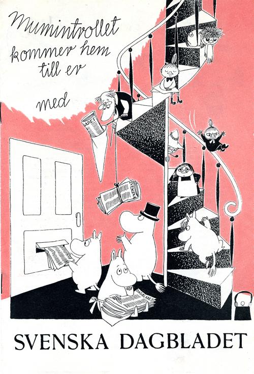 トーベ・ヤンソン≪スウェーデンの日刊紙「スヴェンスカ・ダーグブラーデット」広告≫1957年 印刷 ムーミンキャラクターズ社 (C)Moomin Characters TM