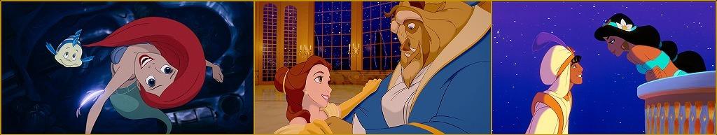 (左から)『リトル・マーメイド』、『美女と野獣』、『アラジン』 (C)︎2020 Disney