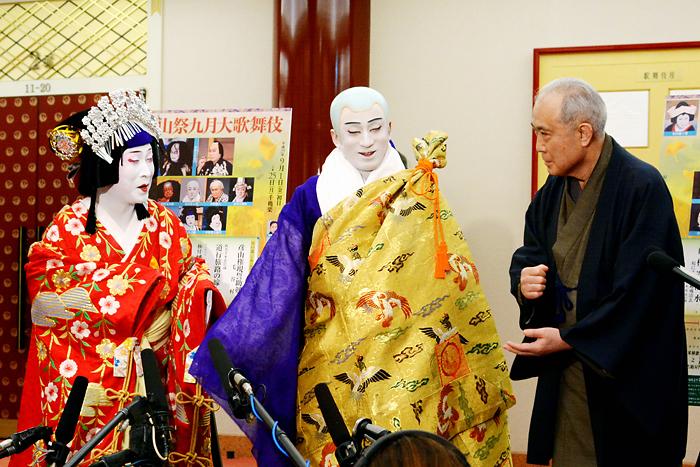 『秀山祭九月大歌舞伎』左から中村雀右衛門、市川染五郎、中村吉右衛門