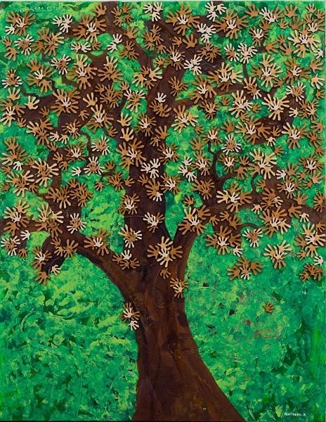 《REACH OUT Tree》2018年 (C) NORITAKE KINASHI(size 117.3cm×91cm)