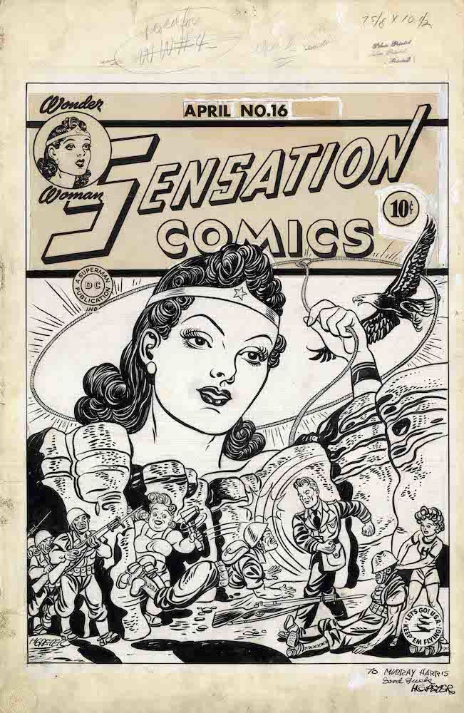 Sensation Comics #16 Cover 1943 Artiste Harry-G-Peter  DETECTIVE COMICS and all related characters and elements (C)&TM DC (s21)