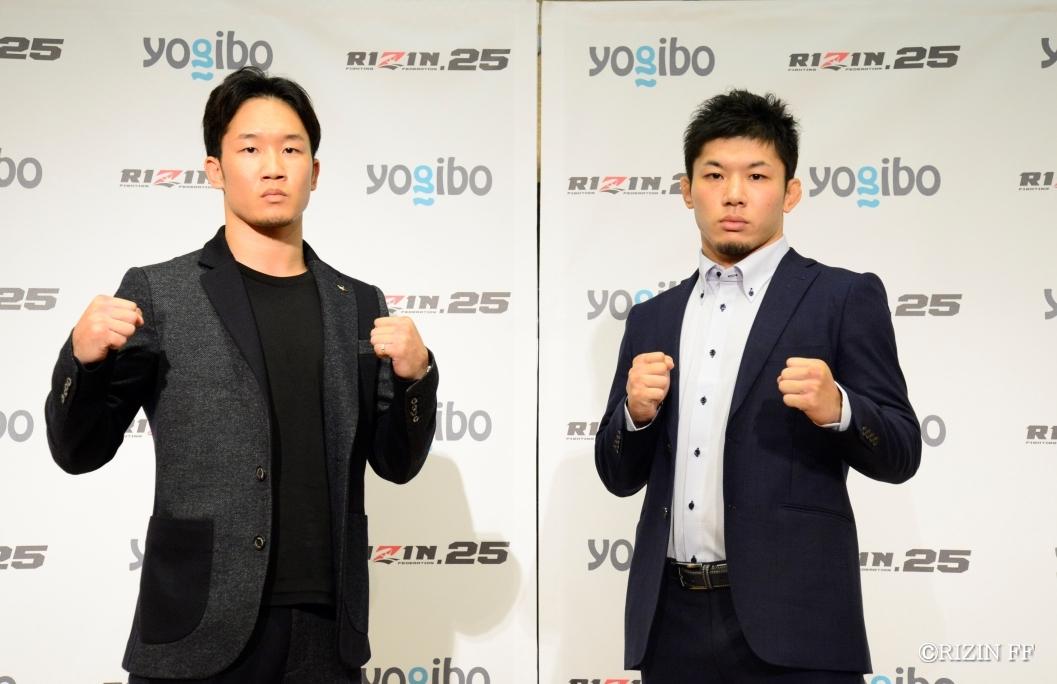 RIZIN初代フェザー級タイトルを目指す朝倉未来(左)と斎藤裕(右)