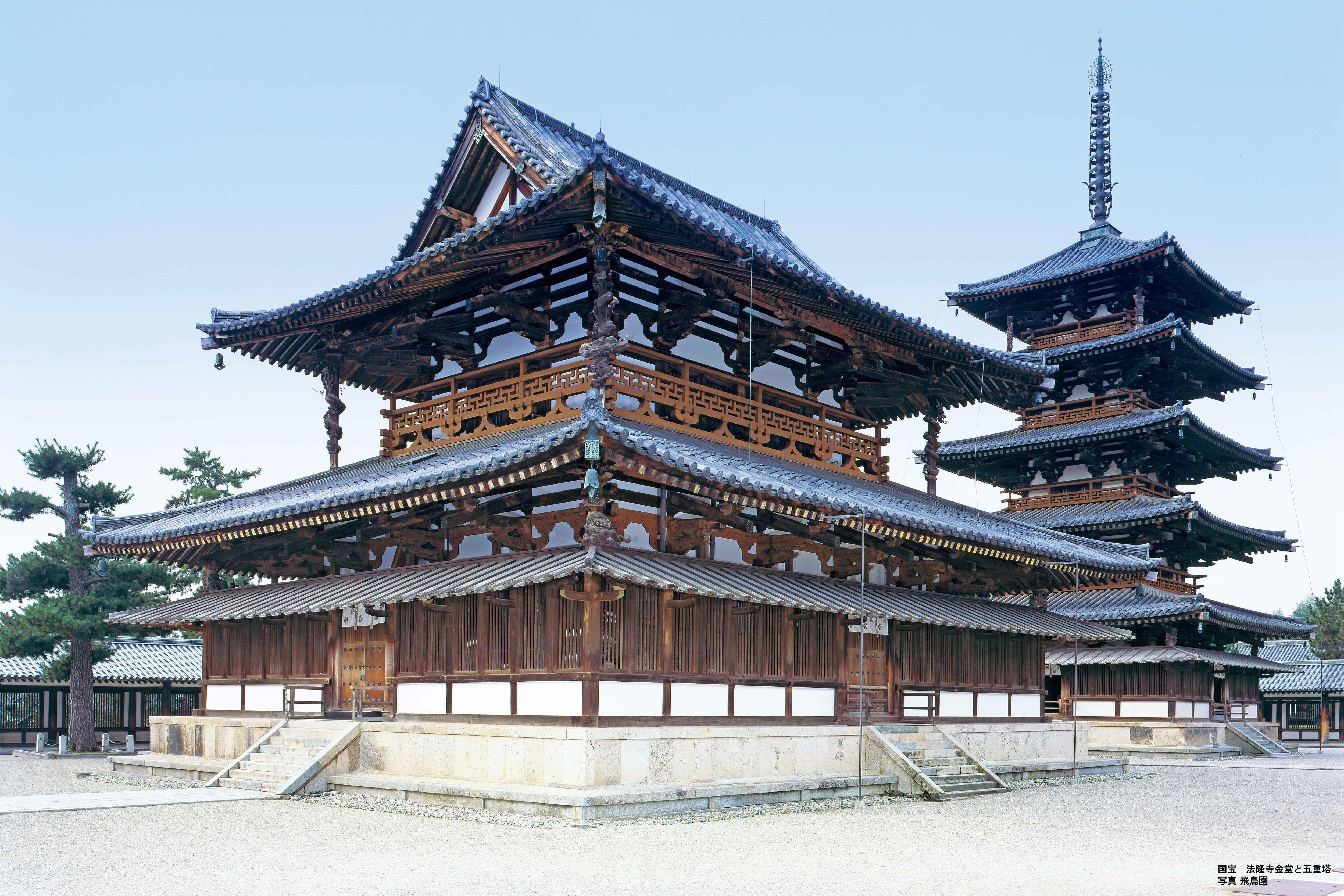 国宝 法隆寺金堂と五重塔 写真飛鳥園