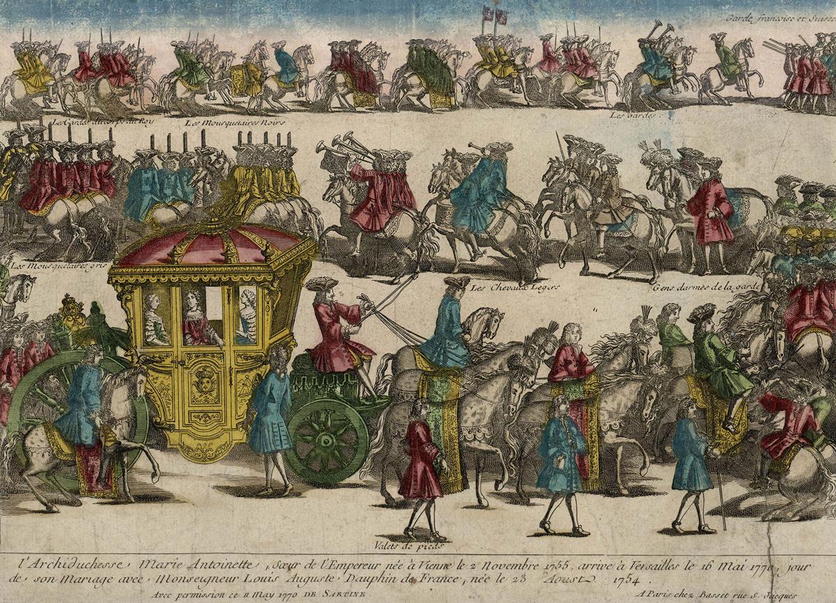 アンドレ・バセ(弟)刊《マリー・アントワネットのヴェルサイユ到着 1770年5月16日、結婚式の日》1770年 ヴェルサイユ宮殿美術館 ©Château de Versailles