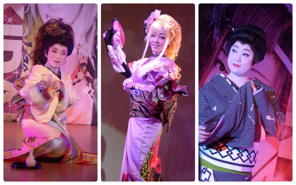 劇団天華女優陣。喜多川志保さん(左) 沢村静華さん(中央) 蘭竜華さん(右)