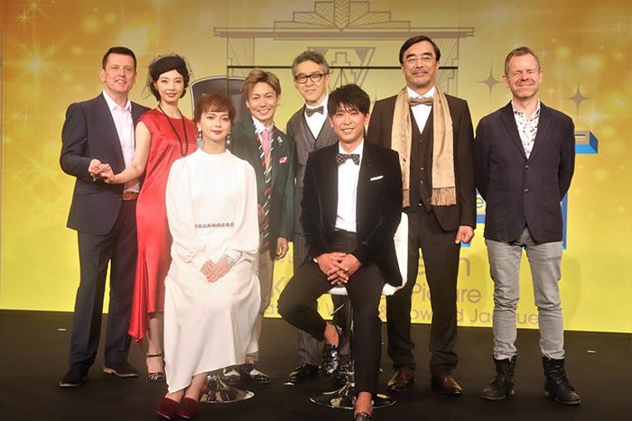 左から)ビル・ディーマー、朝海ひかる、多部未華子、屋良朝幸、浅野和之、坂本昌行、益岡徹、マシュー・ホワイト
