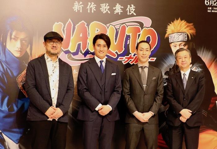 左からG2、中村隼人、坂東巳之助、松竹株式会社 安孫子正副社長