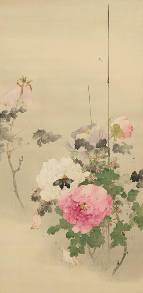 《牡丹に蝶の図》 1893(明治26)年/絹本着色/一幅/個人蔵