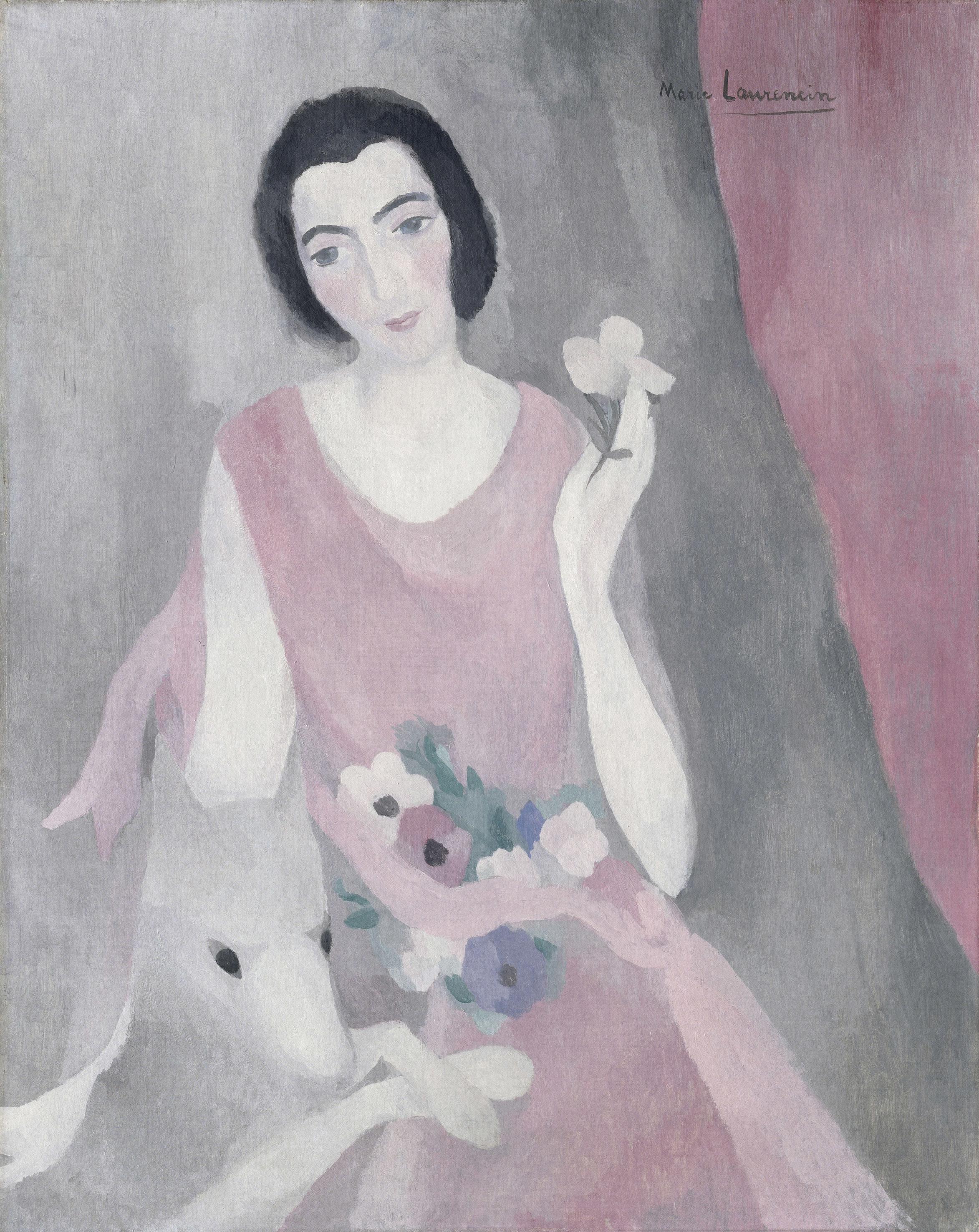 マリー・ローランサン《ポール・ギョーム夫人の肖像》1924年頃、油彩・カンヴァス、92×73cm、オランジュリー美術館