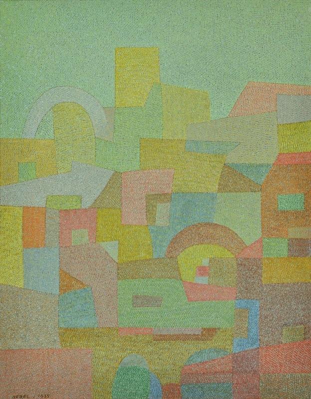 オットー・ネーベル《地中海から(南国)》1935年、水彩・紙、厚紙に貼付した紙、オットー・ネーベル財団
