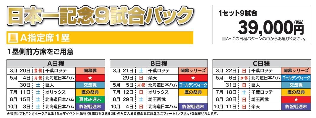日本一記念9試合パックの詳細