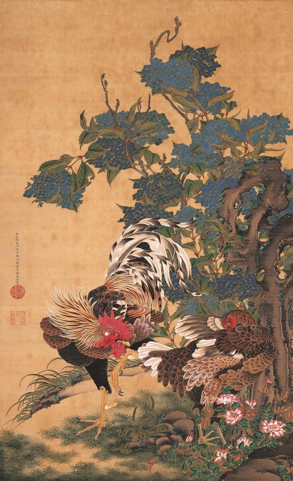 伊藤若冲 《紫陽花双鶏図》 絹本着色 一幅 139.4×85.1 江戸時代(18世紀) エツコ&ジョー・プライスコレクション
