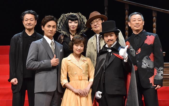 加藤和樹、大原櫻子、中川晃教(前列左から)、白井晃、高橋由美子、六角精児、森雪之丞(後列左から)