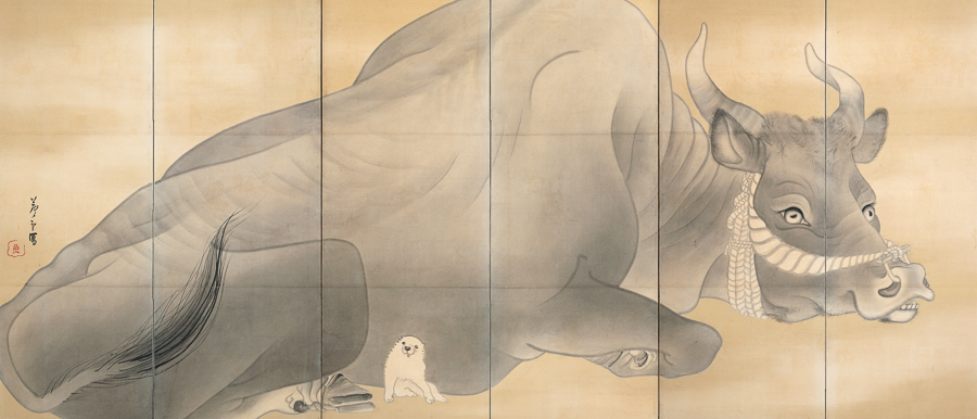 長沢芦雪《白象黒牛図屏風》(左隻)18世紀 米国・エツコ&ジョープライスコレクション