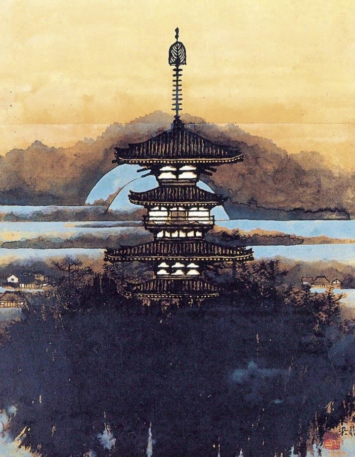 《薬師寺東塔の図》昭和45(1970)年頃 個人蔵