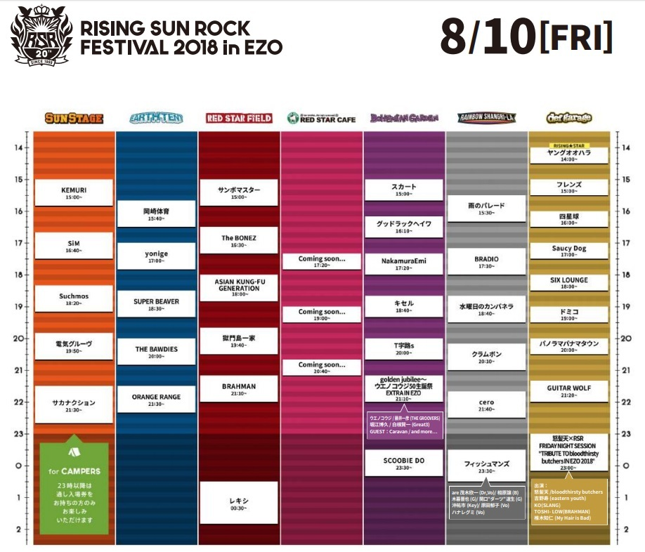『RISING SUN ROCK FESTIVAL 2018 in EZO』8月10日