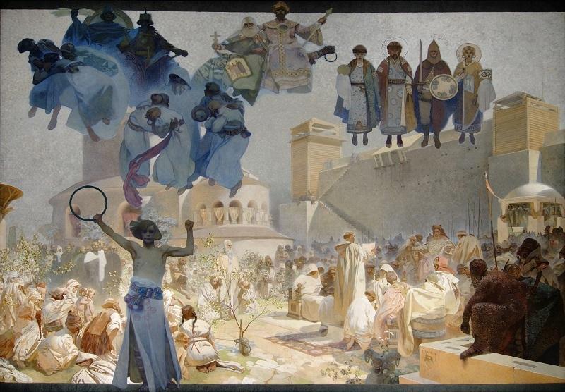 《スラヴ叙事詩「スラヴ式典礼の導入」》 1912年 プラハ市立美術館 ©Prague City Gallery