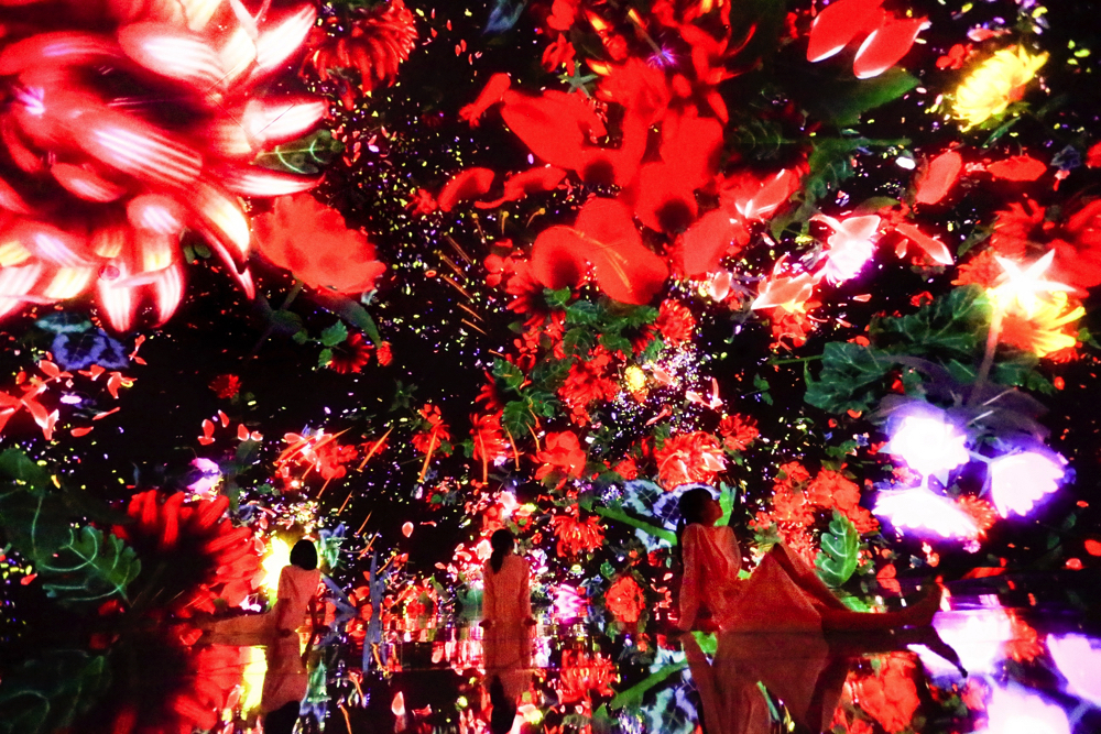 Floating in the Falling Universe of Flowers   teamLab, 2016-2018, Interactive Digital Installation, Endless, Sound: Hideaki Takahashi