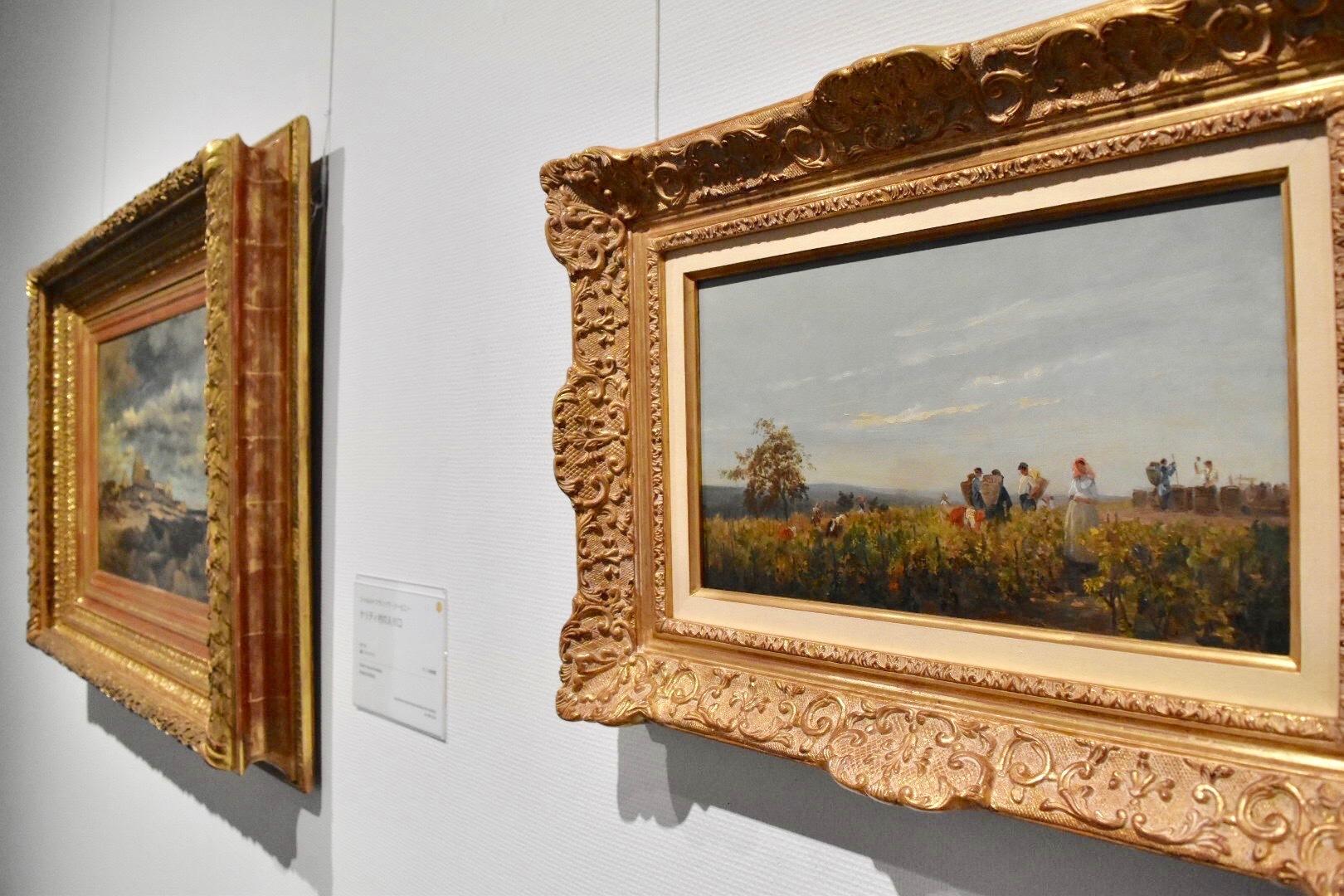 右:シャルル=フランソワ・ドービニー 《ブドウの収穫》 1863年頃 個人蔵