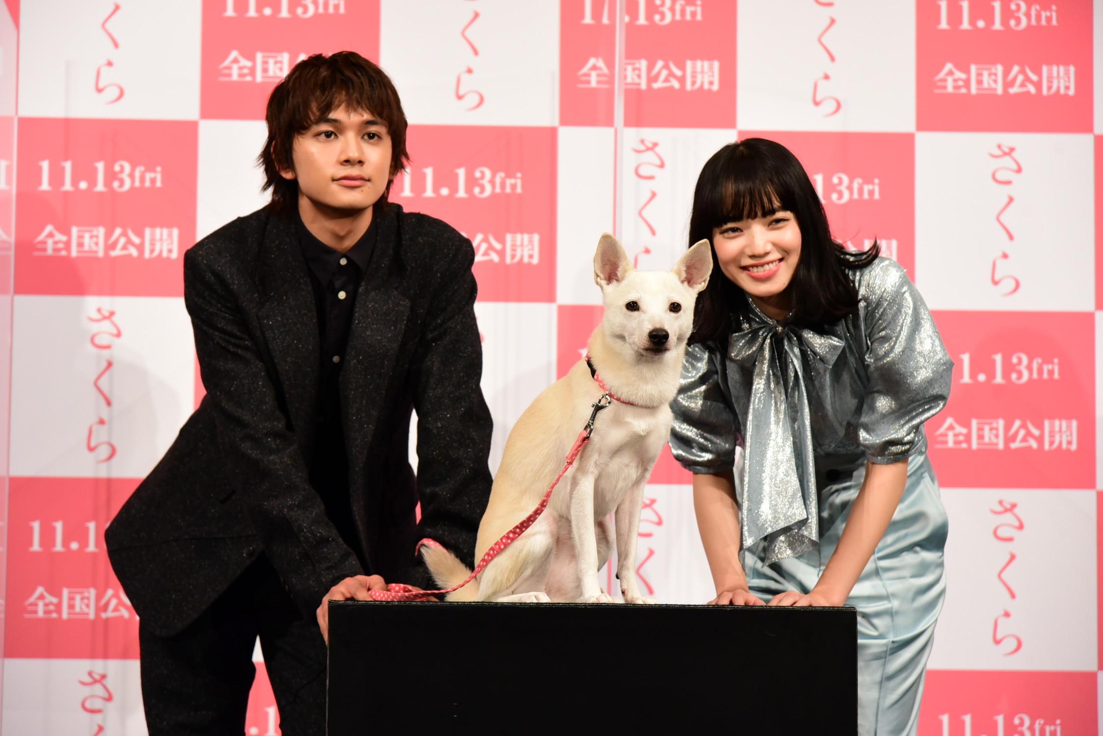 左から、北村匠海、犬のちえ、小松菜奈